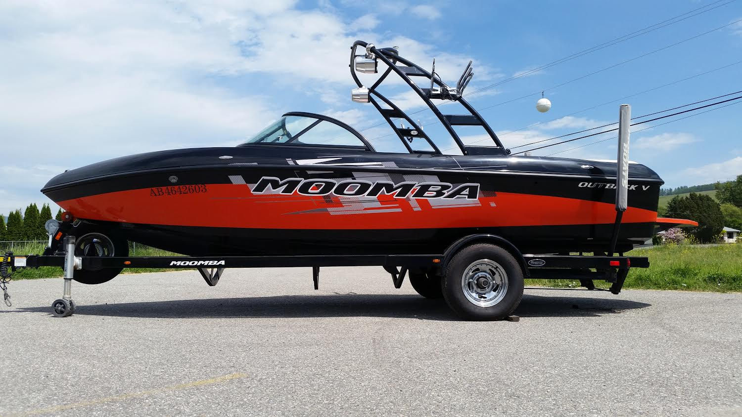 Moomba Outback V Surf Boat available to rent at Okanagan Recreational Rentals.